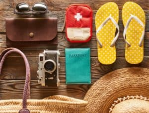 Travel and beach flat lay